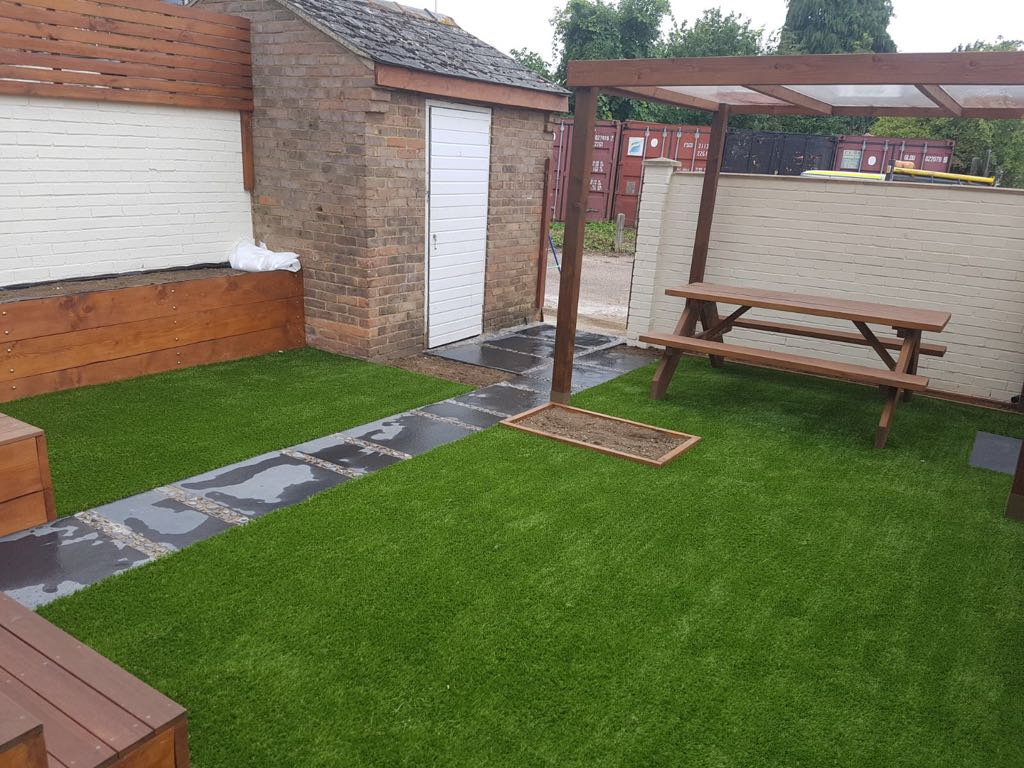 Artificial grass and paving Bedford